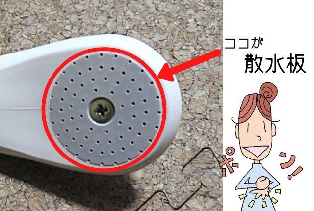 シャワーヘッド散水板の説明図