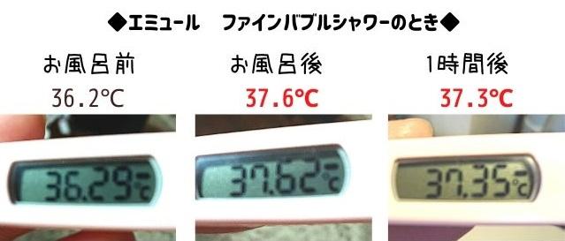 エミュールファインバブルシャワー体温の変化写真