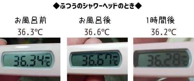 普通のシャワーヘッド体温の変化数値